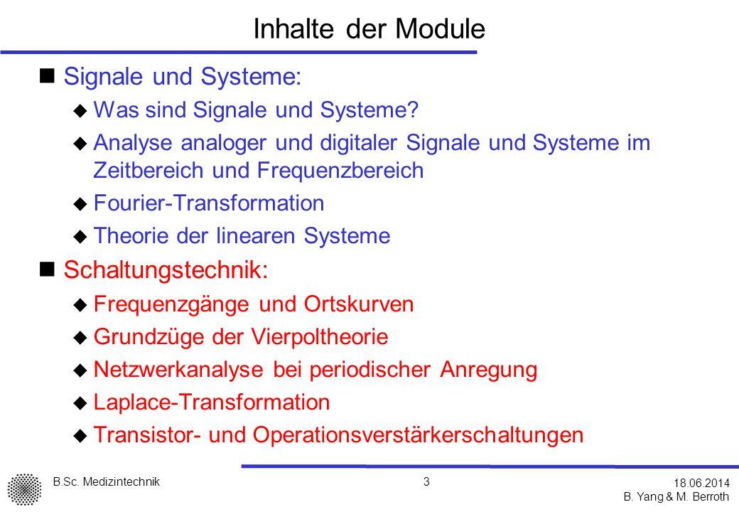 Inhalte der Module Signale und Systeme: Schaltungstechnik:
