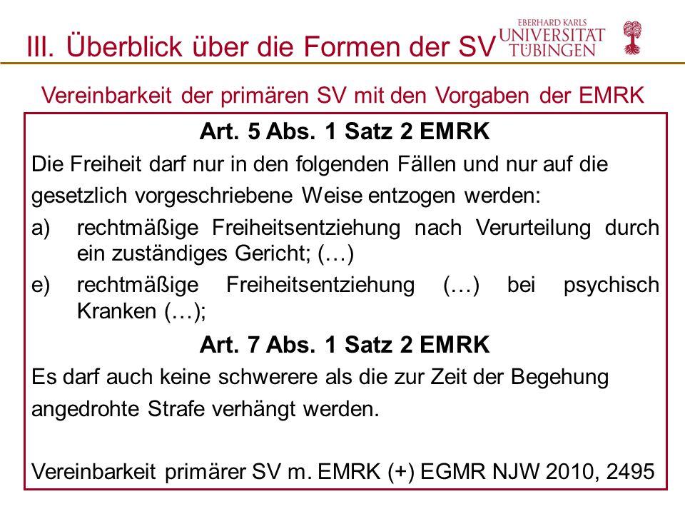 Vereinbarkeit der primären SV mit den Vorgaben der EMRK