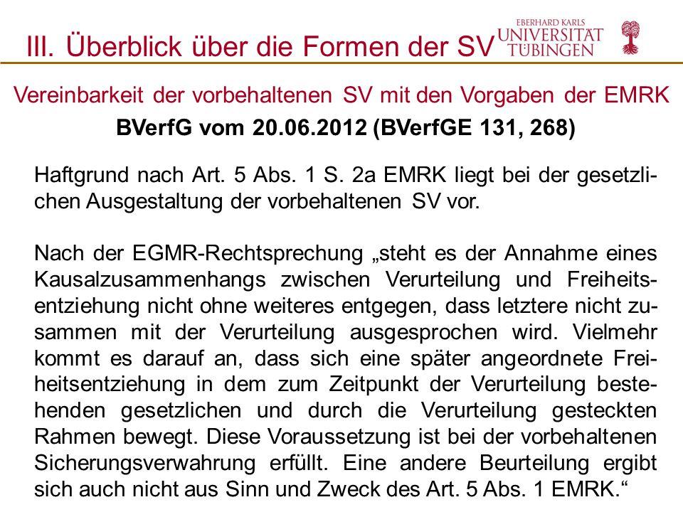 Vereinbarkeit der vorbehaltenen SV mit den Vorgaben der EMRK