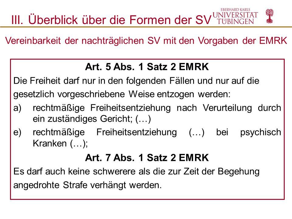 Vereinbarkeit der nachträglichen SV mit den Vorgaben der EMRK