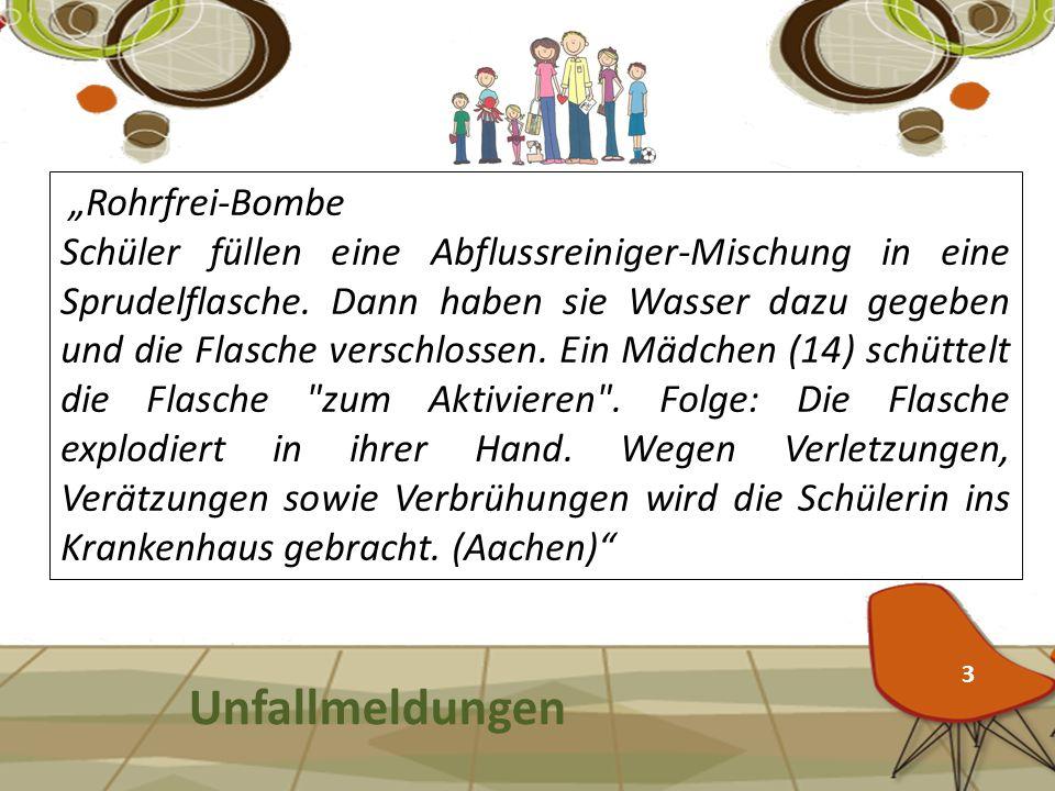 "Unfallmeldungen ""Rohrfrei-Bombe"