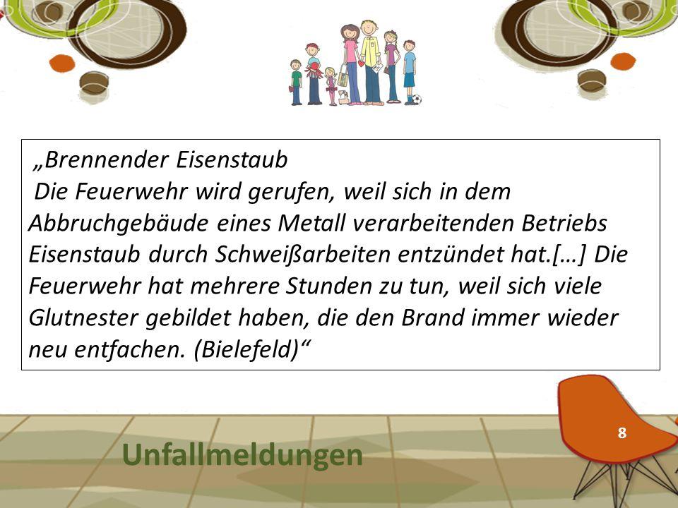 """Unfallmeldungen """"Brennender Eisenstaub"""