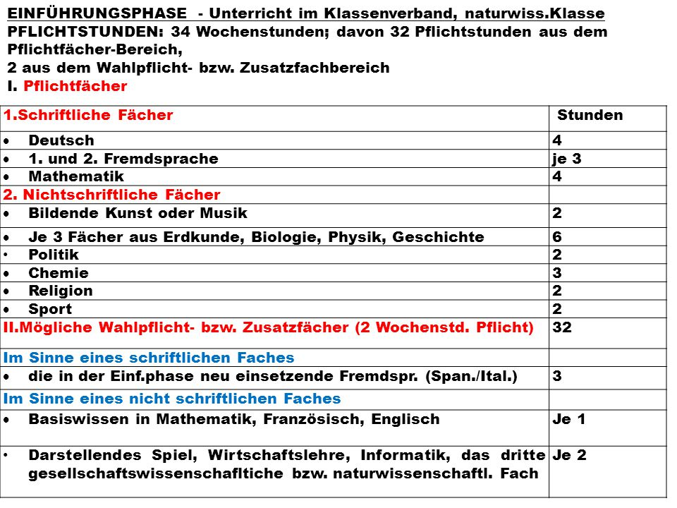 EINFÜHRUNGSPHASE - Unterricht im Klassenverband, naturwiss.Klasse