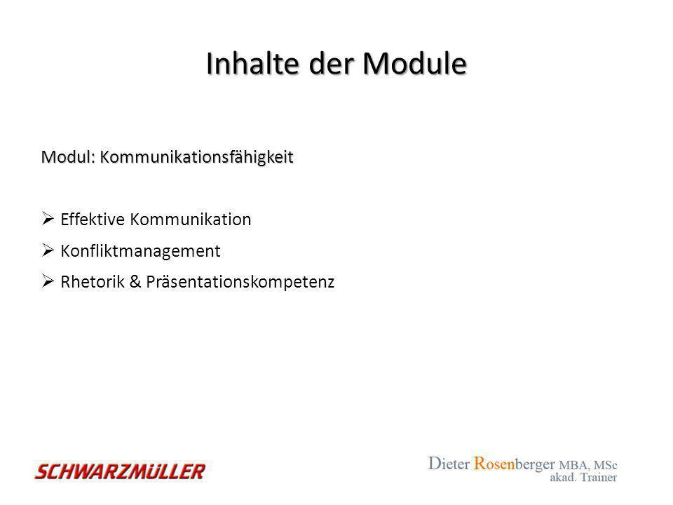 Inhalte der Module Modul: Kommunikationsfähigkeit