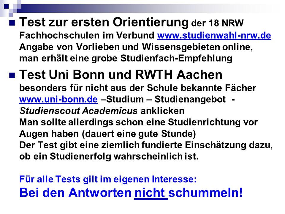 Test zur ersten Orientierung der 18 NRW Fachhochschulen im Verbund www