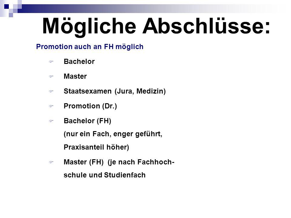 Mögliche Abschlüsse: Promotion auch an FH möglich Bachelor Master