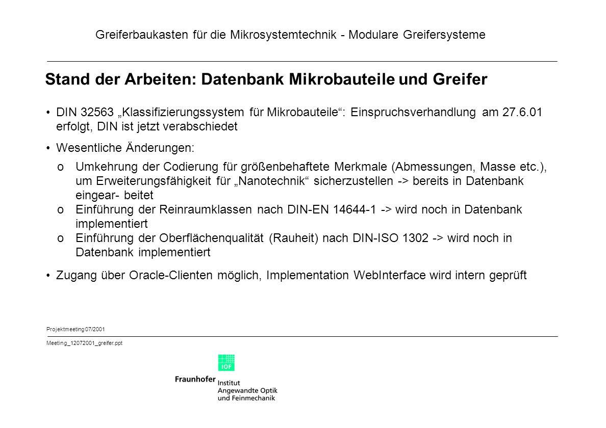 Stand der Arbeiten: Datenbank Mikrobauteile und Greifer
