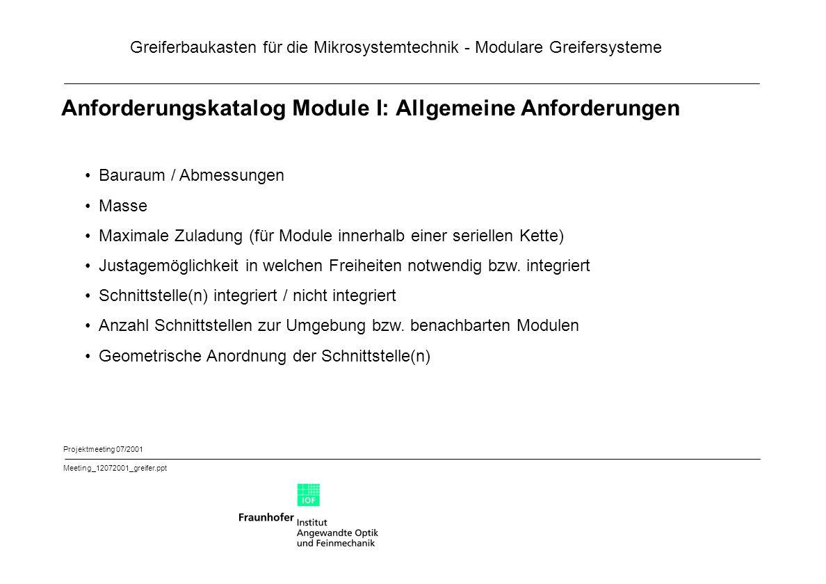 Anforderungskatalog Module I: Allgemeine Anforderungen