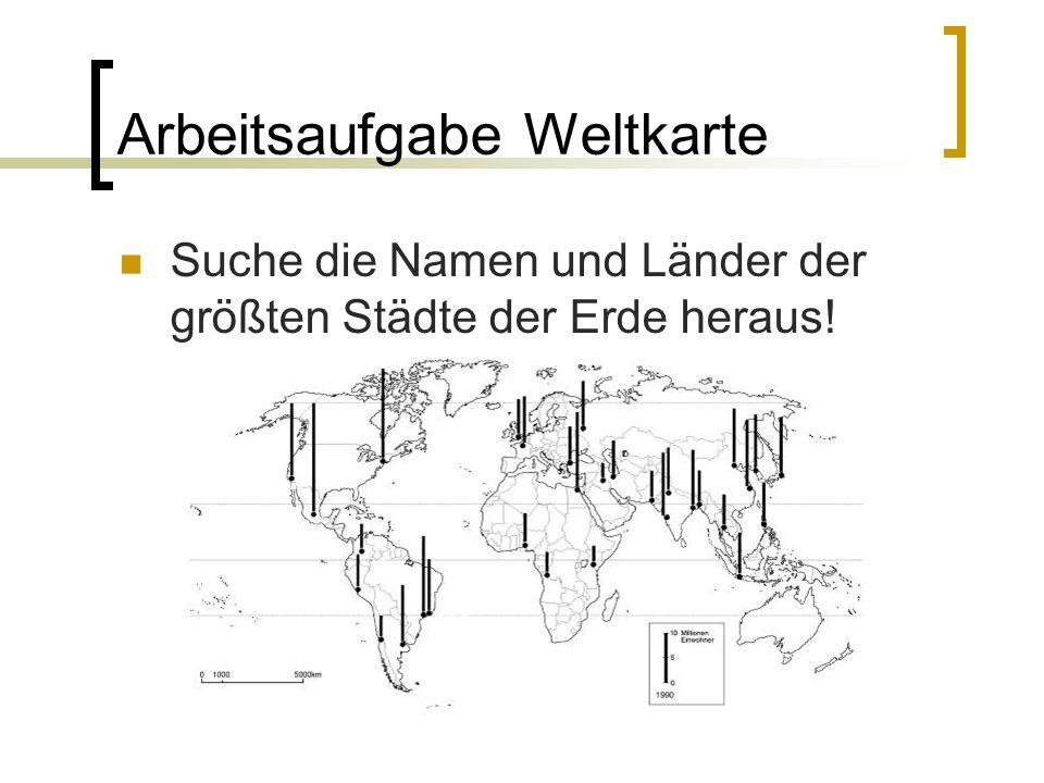 Arbeitsaufgabe Weltkarte