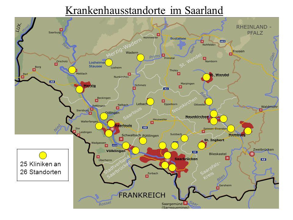 Krankenhausstandorte im Saarland