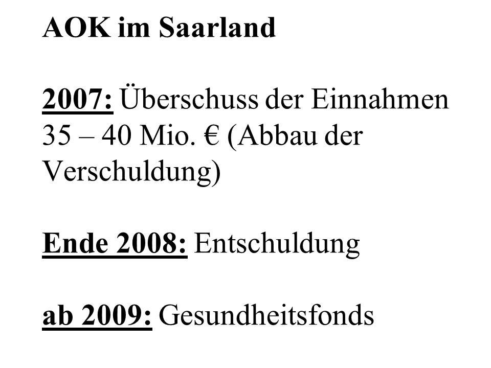 AOK im Saarland 2007: Überschuss der Einnahmen 35 – 40 Mio