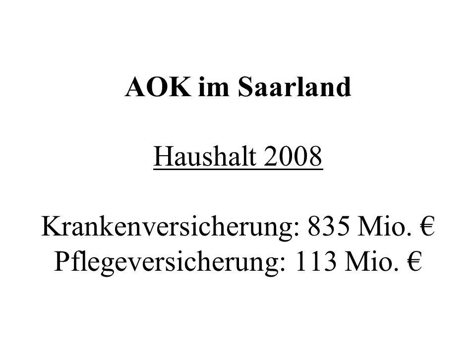 AOK im Saarland Haushalt 2008 Krankenversicherung: 835 Mio