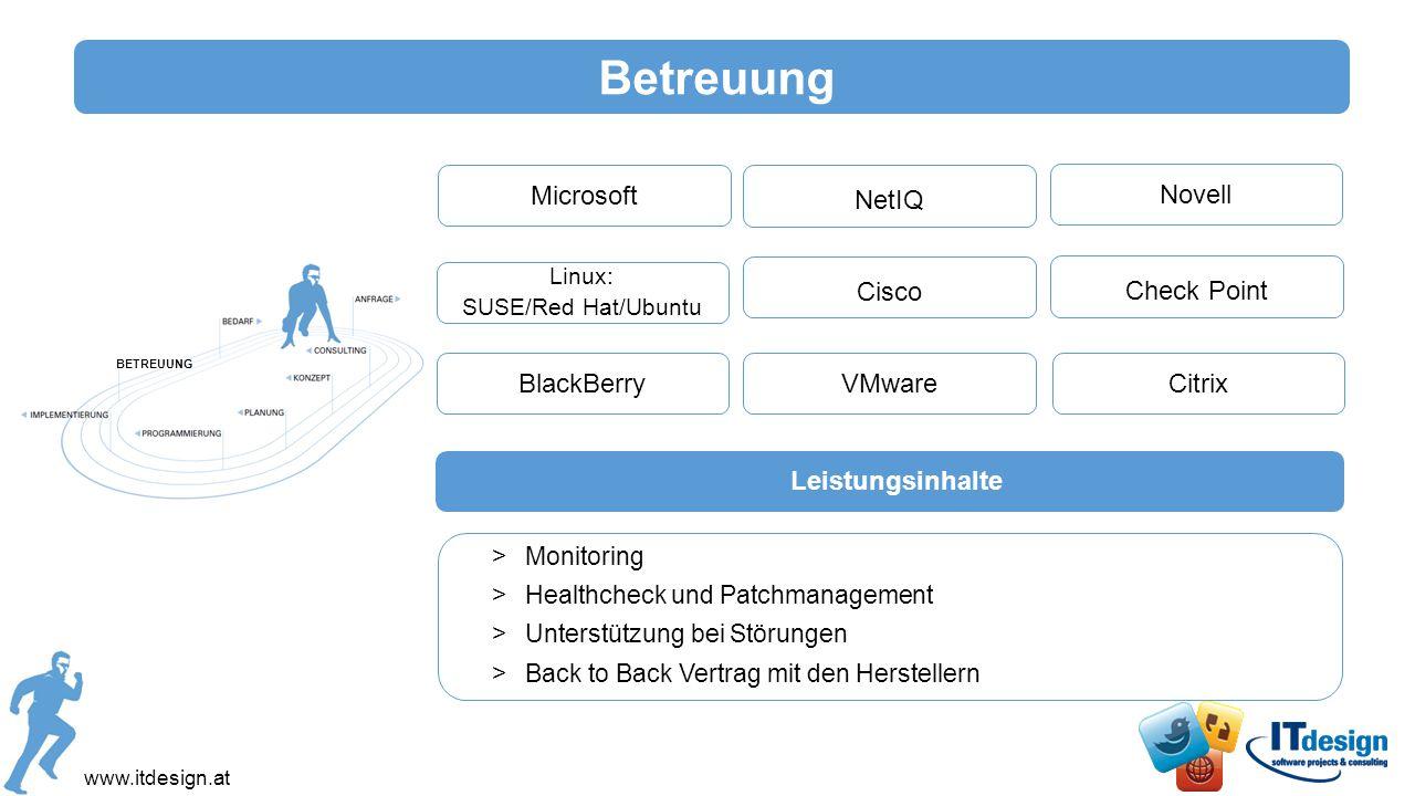 Betreuung Microsoft NetIQ Novell Cisco Check Point BlackBerry VMware