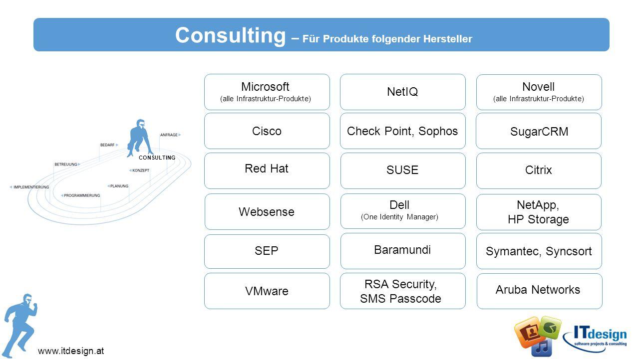 Consulting – Für Produkte folgender Hersteller