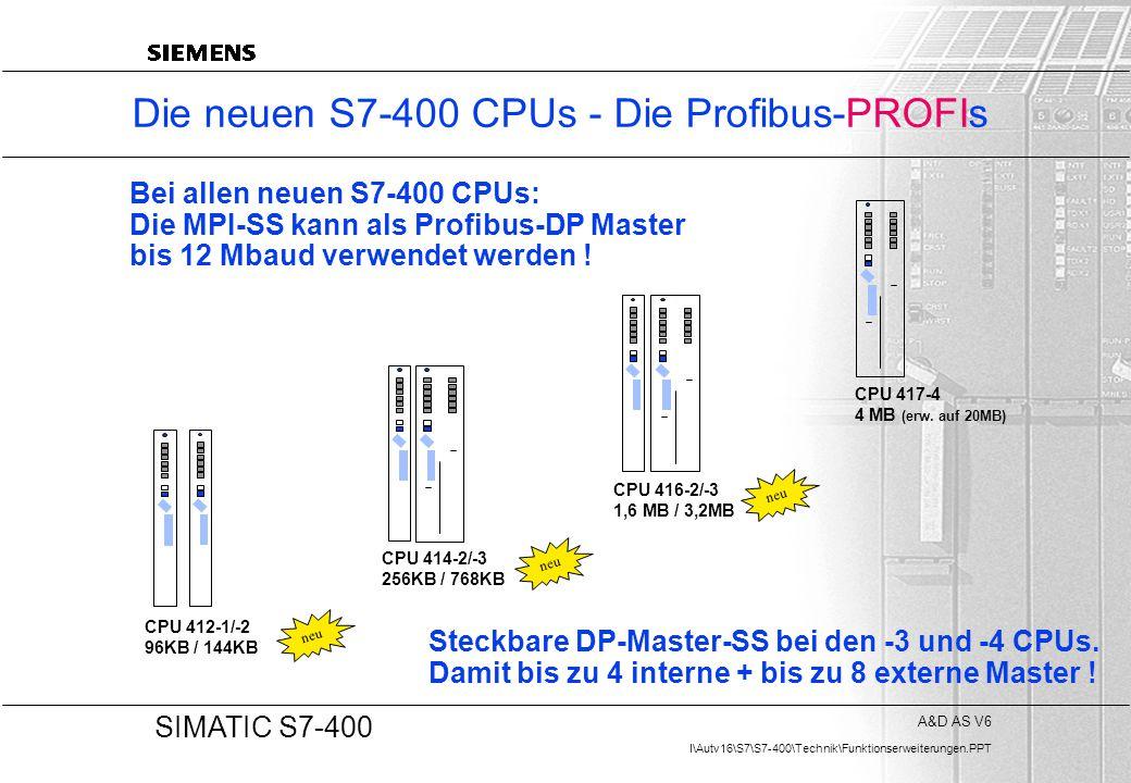 Die neuen S7-400 CPUs - Die Profibus-PROFIs