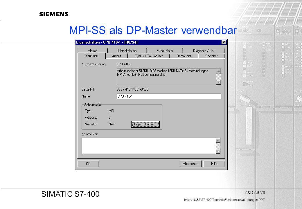 MPI-SS als DP-Master verwendbar