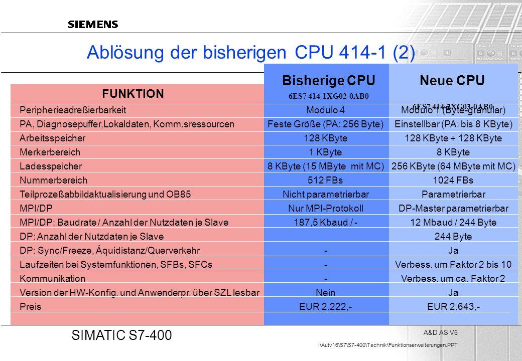 Ablösung der bisherigen CPU 414-1 (2)