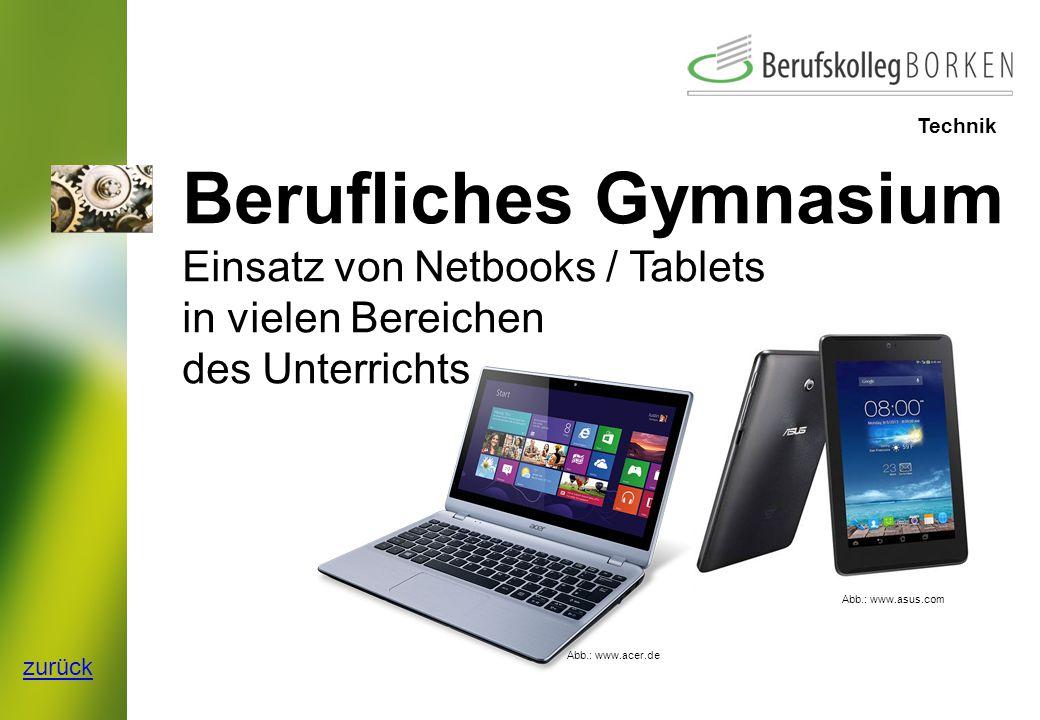 Berufliches Gymnasium Einsatz von Netbooks / Tablets