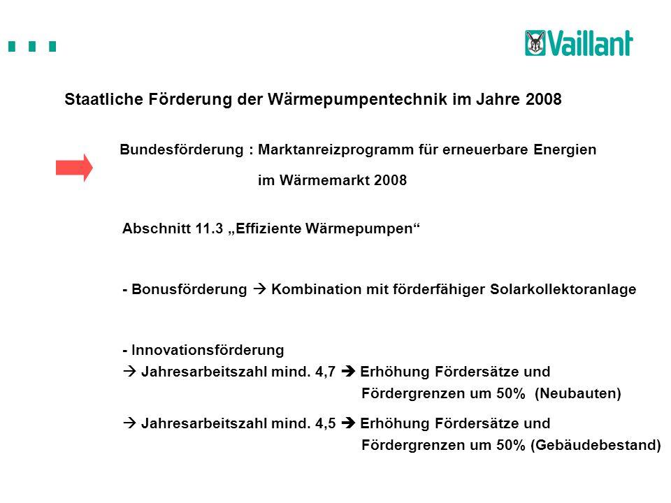 Staatliche Förderung der Wärmepumpentechnik im Jahre 2008