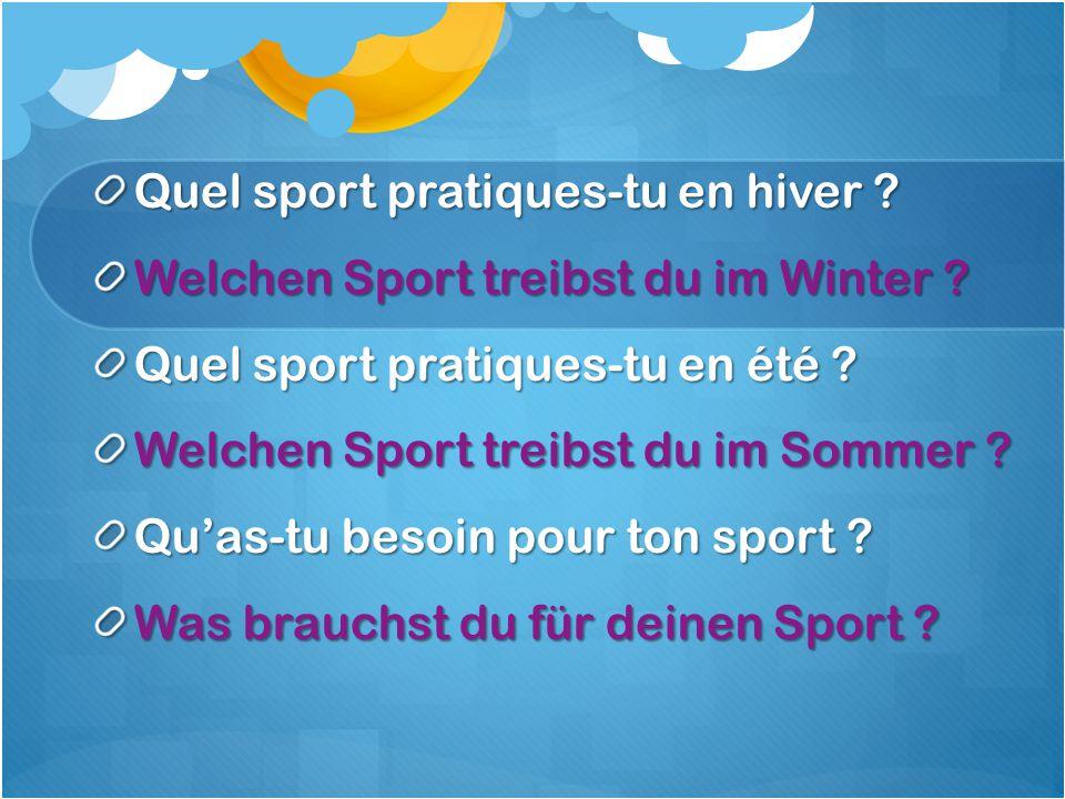 Quel sport pratiques-tu en hiver