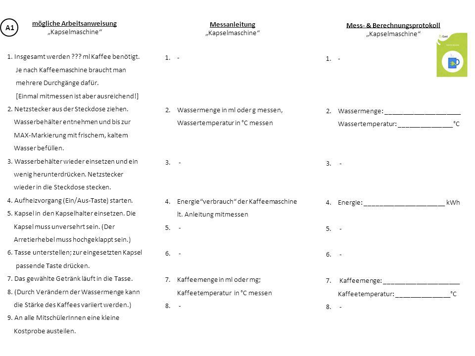 mögliche Arbeitsanweisung Mess- & Berechnungsprotokoll