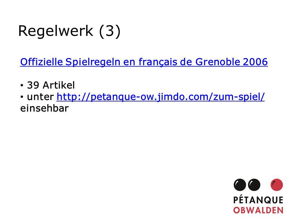 Regelwerk (3) Offizielle Spielregeln en français de Grenoble 2006