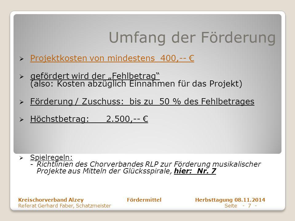 Umfang der Förderung Projektkosten von mindestens 400,-- €