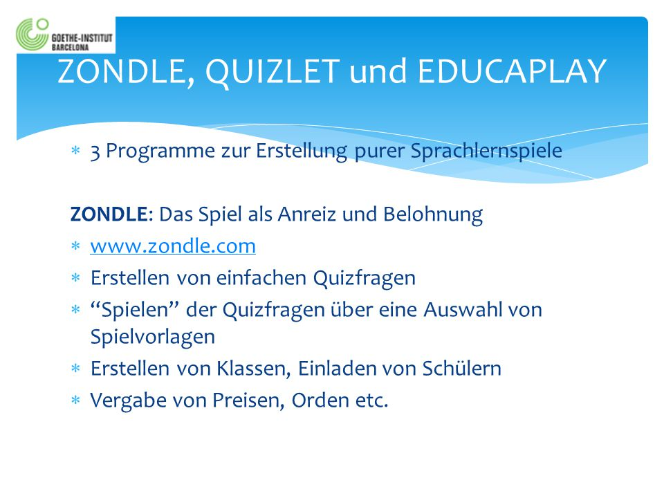 ZONDLE, QUIZLET und EDUCAPLAY