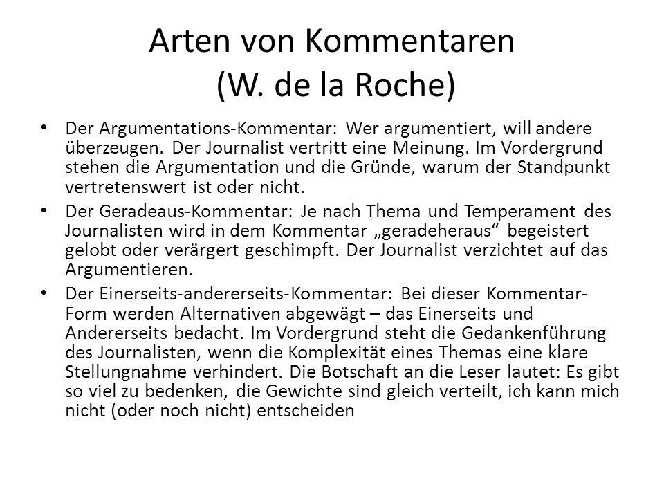 Arten von Kommentaren (W. de la Roche)