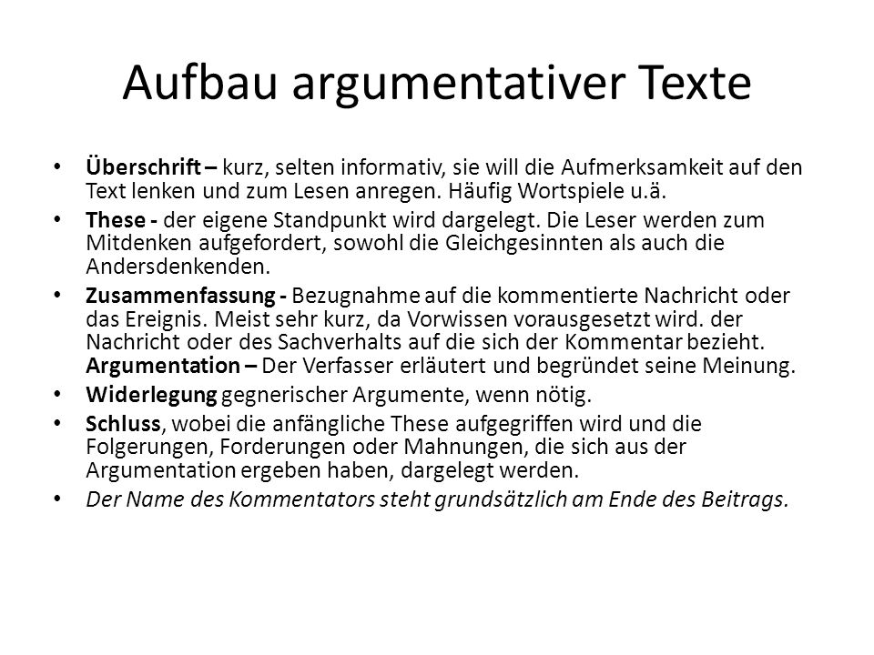 Aufbau argumentativer Texte