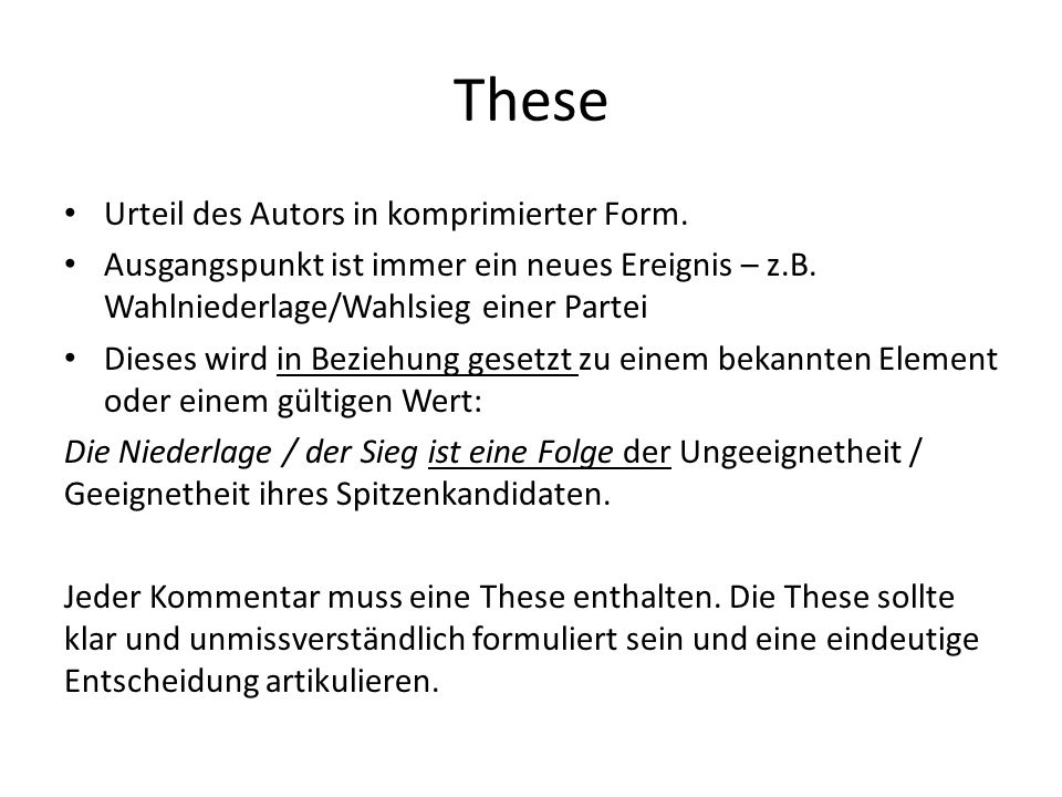 These Urteil des Autors in komprimierter Form.