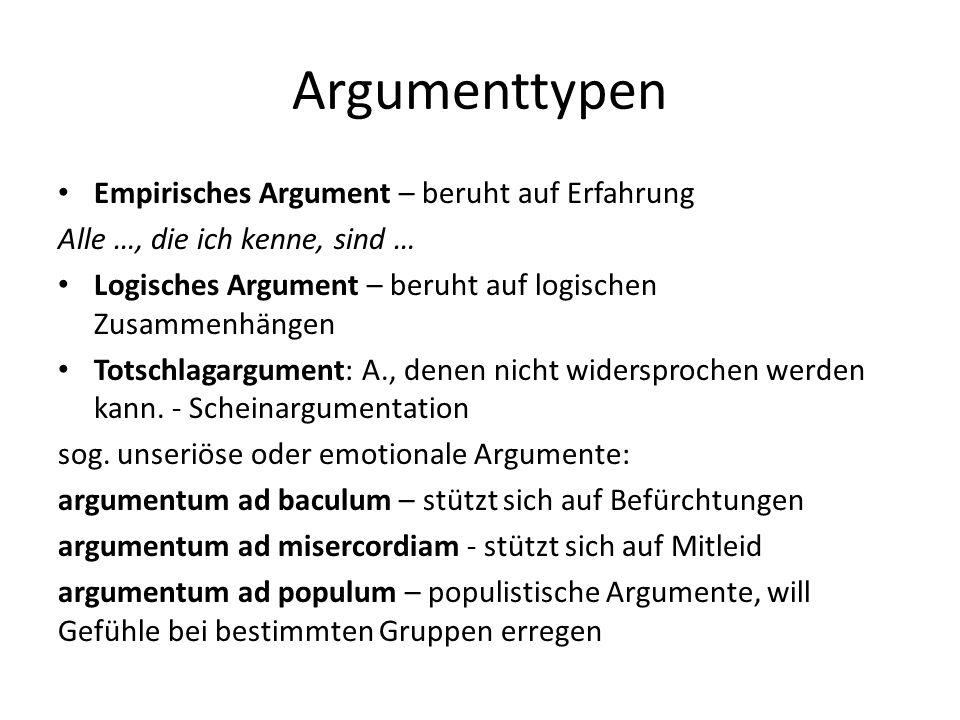 Argumenttypen Empirisches Argument – beruht auf Erfahrung