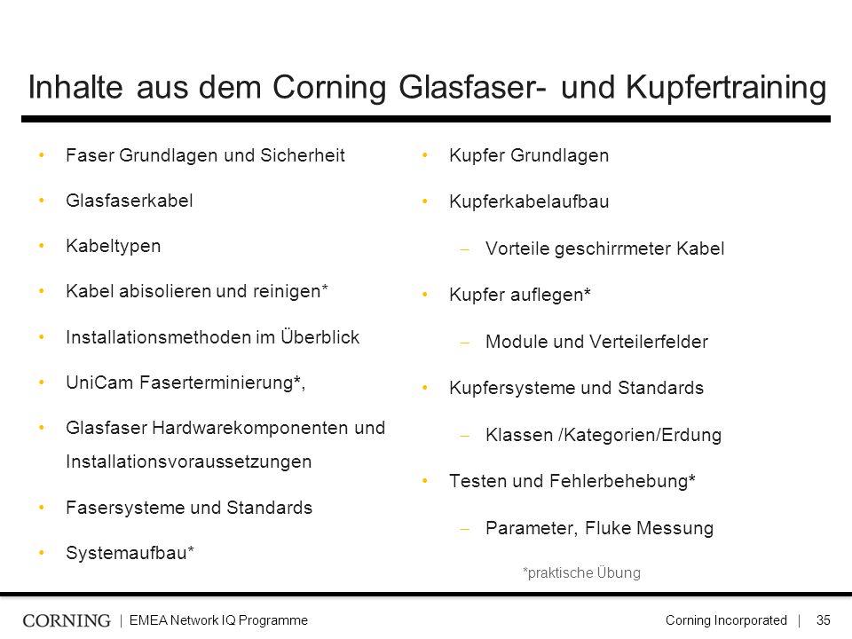 Inhalte aus dem Corning Glasfaser- und Kupfertraining