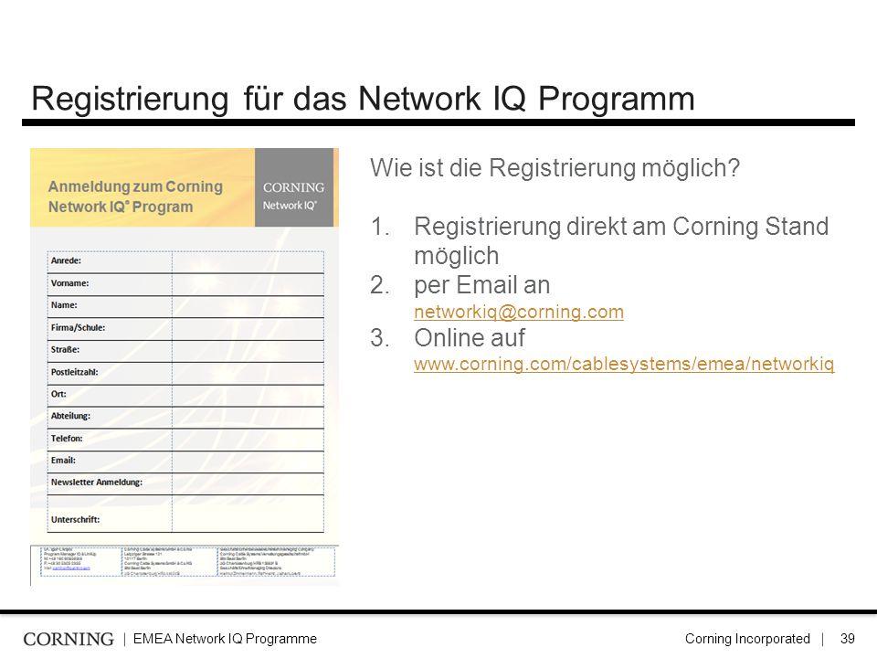 Registrierung für das Network IQ Programm