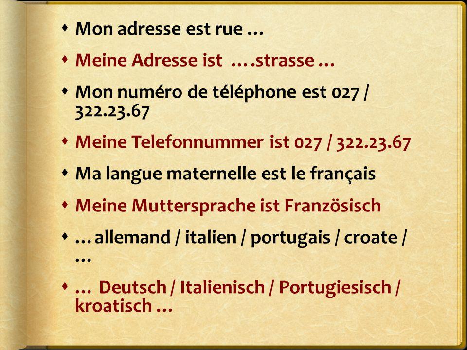 Mon adresse est rue … Meine Adresse ist ….strasse … Mon numéro de téléphone est 027 / 322.23.67.