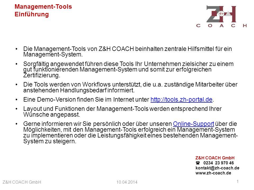 Die Management-Tools von Z&H COACH beinhalten zentrale Hilfsmittel für ein Management-System.