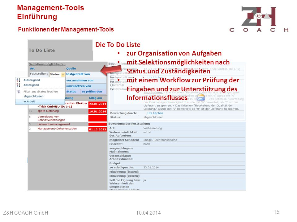 Funktionen der Management-Tools