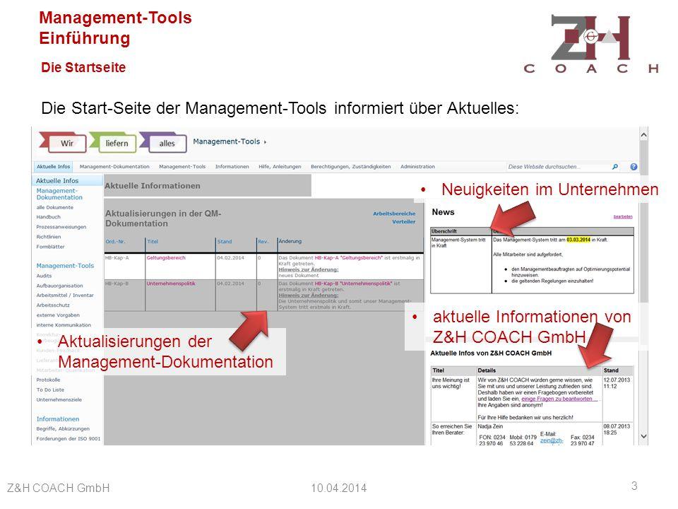 Die Start-Seite der Management-Tools informiert über Aktuelles: