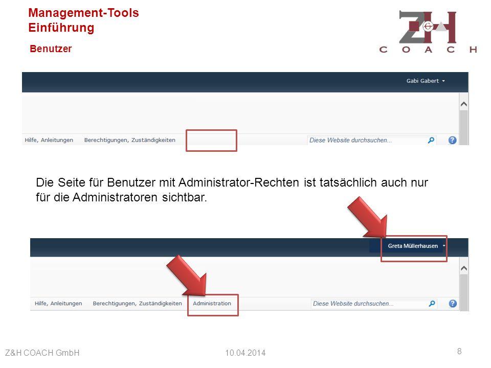 Benutzer Die Seite für Benutzer mit Administrator-Rechten ist tatsächlich auch nur für die Administratoren sichtbar.