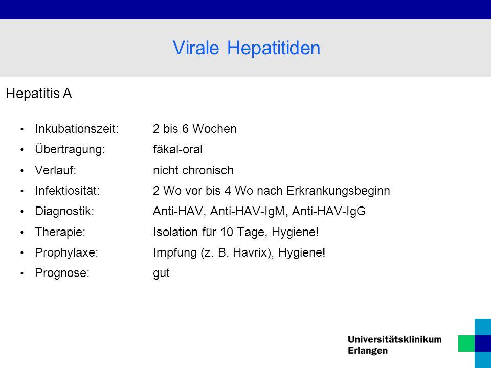 Virale Hepatitiden Hepatitis A Inkubationszeit: 2 bis 6 Wochen