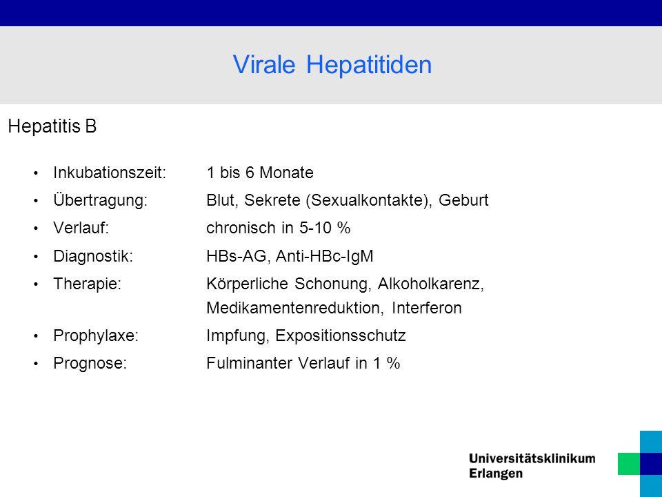 Virale Hepatitiden Hepatitis B Inkubationszeit: 1 bis 6 Monate