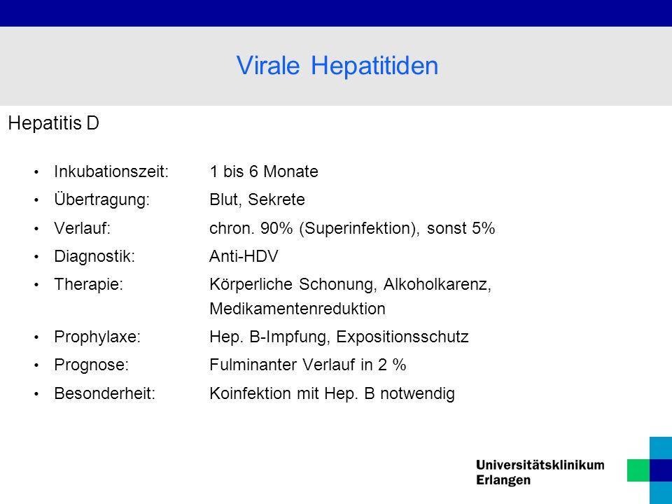 Virale Hepatitiden Hepatitis D Inkubationszeit: 1 bis 6 Monate