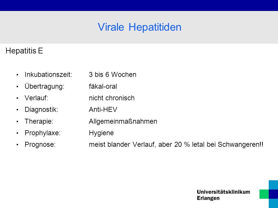 Virale Hepatitiden Hepatitis E Inkubationszeit: 3 bis 6 Wochen