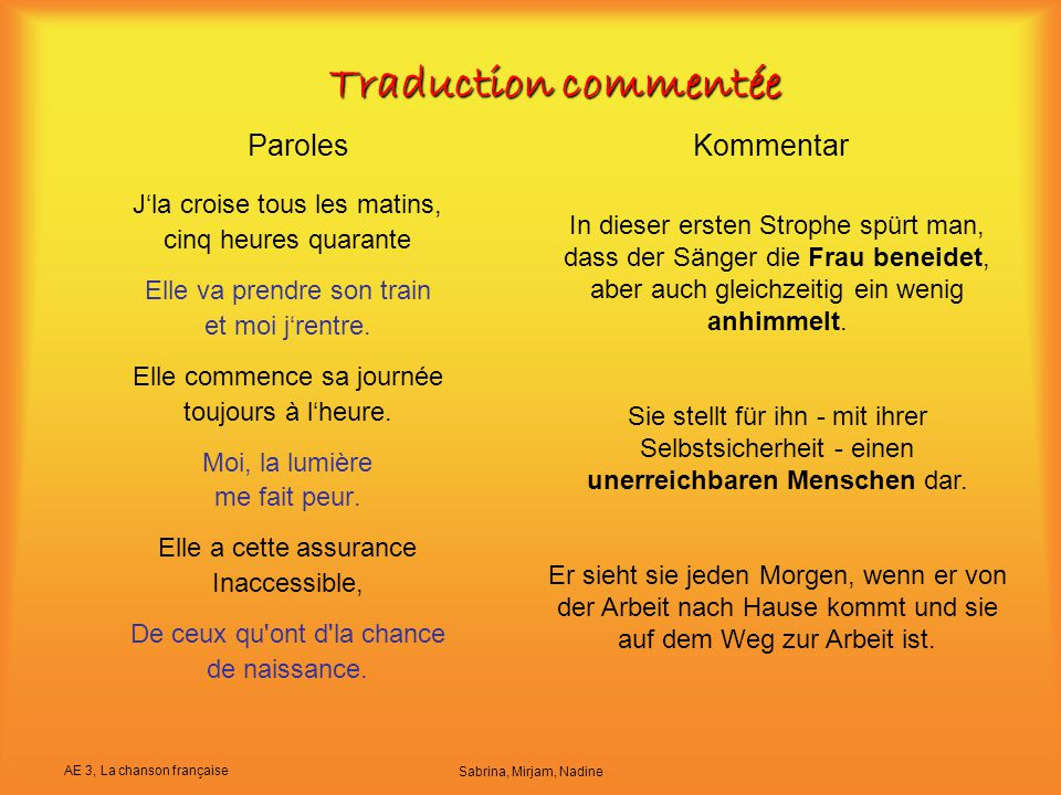 Traduction commentée Paroles Kommentar J'la croise tous les matins,