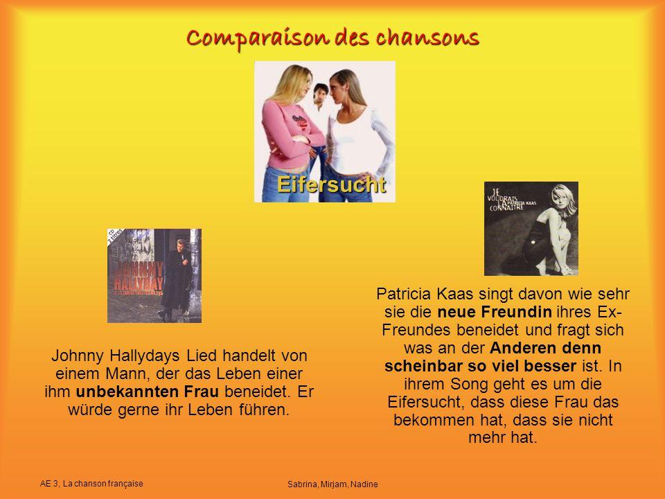 Comparaison des chansons