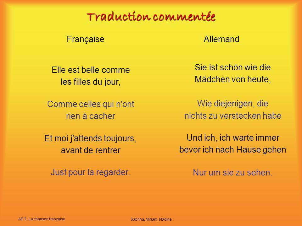 Traduction commentée Française Allemand Sie ist schön wie die