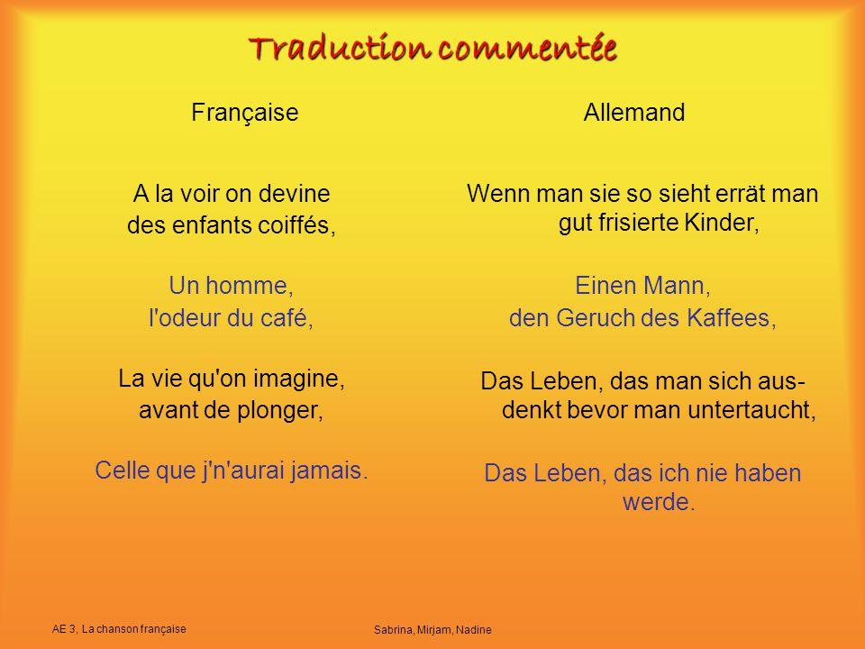 Traduction commentée Française Allemand A la voir on devine