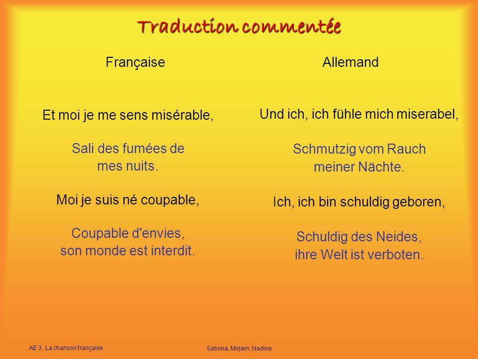 Traduction commentée Française Allemand Et moi je me sens misérable,