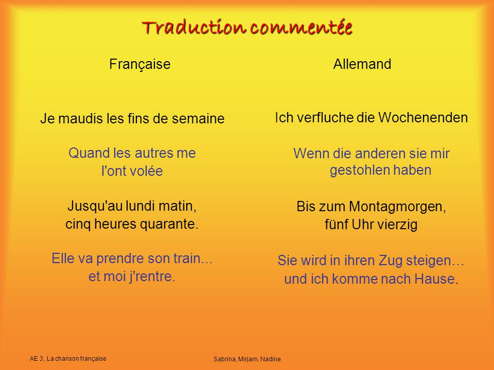 Traduction commentée Française Allemand Je maudis les fins de semaine