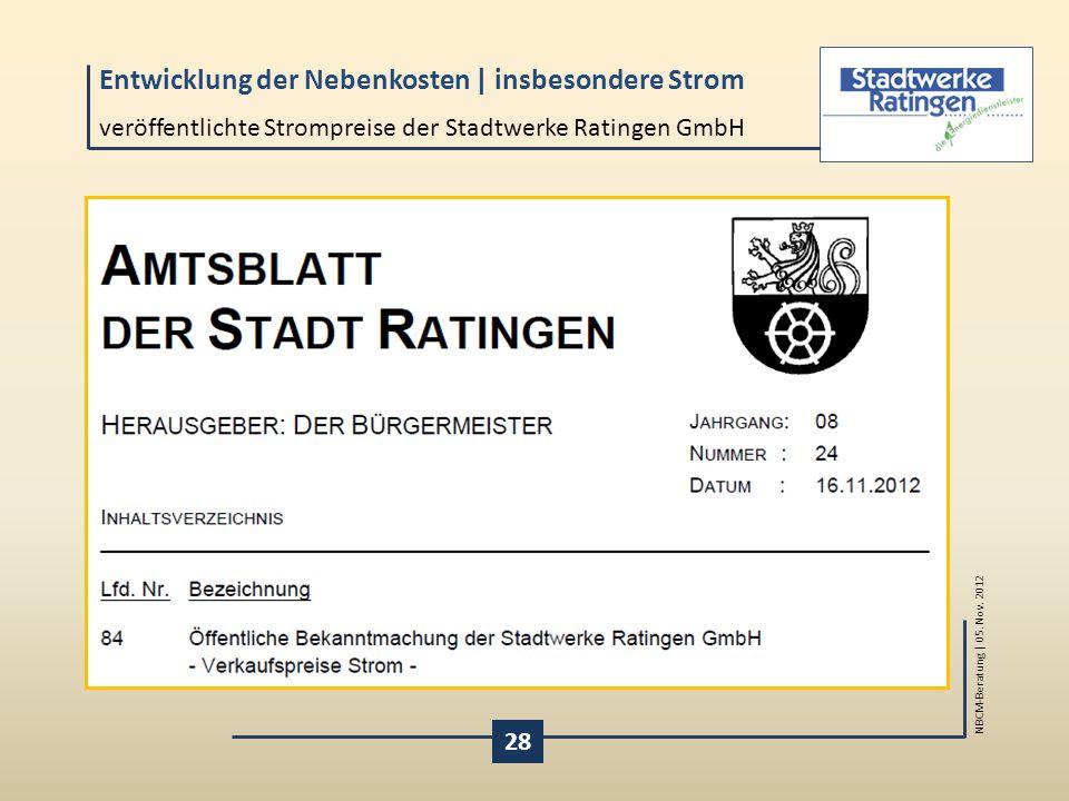 veröffentlichte Strompreise der Stadtwerke Ratingen GmbH